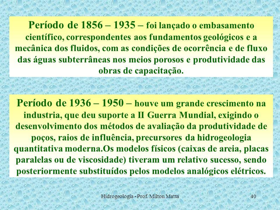 Hidrogeologia - Prof. Milton Matta40 Período de 1856 – 1935 – foi lançado o embasamento científico, correspondentes aos fundamentos geológicos e a mec