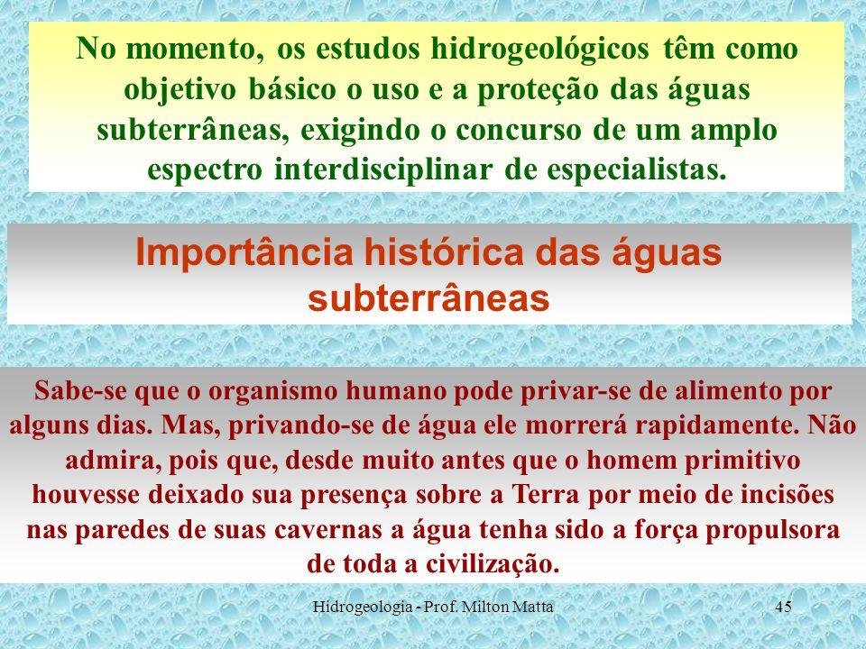 Hidrogeologia - Prof. Milton Matta45 No momento, os estudos hidrogeológicos têm como objetivo básico o uso e a proteção das águas subterrâneas, exigin