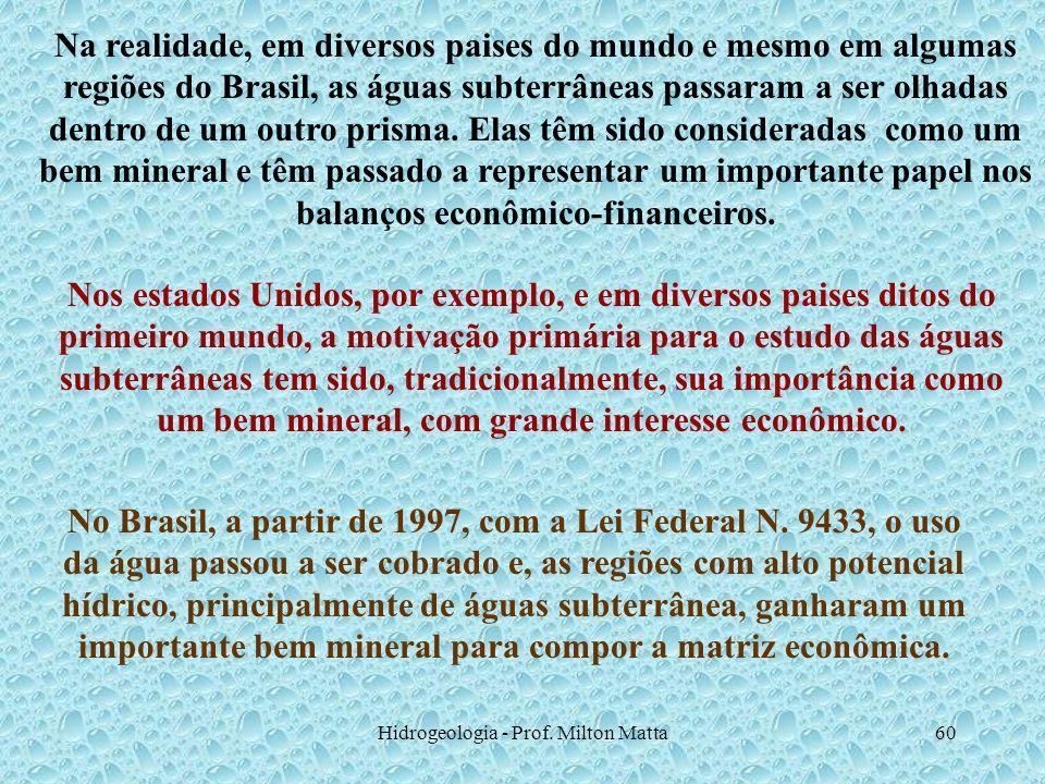 Hidrogeologia - Prof. Milton Matta60 Na realidade, em diversos paises do mundo e mesmo em algumas regiões do Brasil, as águas subterrâneas passaram a