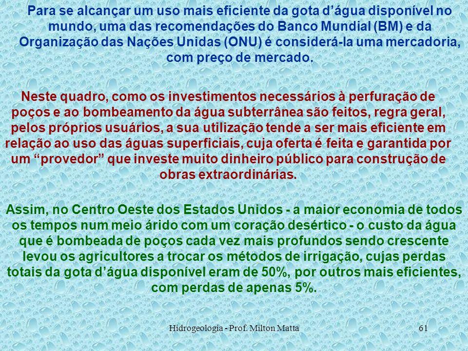 Hidrogeologia - Prof. Milton Matta61 Para se alcançar um uso mais eficiente da gota dágua disponível no mundo, uma das recomendações do Banco Mundial