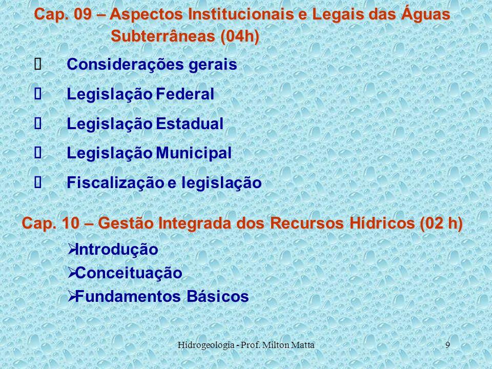 Hidrogeologia - Prof. Milton Matta9 Cap. 09 – Aspectos Institucionais e Legais das Águas Subterrâneas (04h) Subterrâneas (04h) Considerações gerais Le
