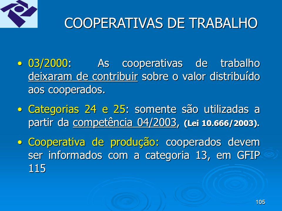104 COOPERATIVAS DE TRABALHO Cooperados: Cooperados: GFIP 211 (911 até a versão 7.0 do SEFIP) GFIP 211 (911 até a versão 7.0 do SEFIP) Trabalhadores da Administração: Trabalhadores da Administração: GFIP 115 GFIP 115