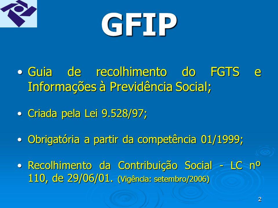 52 VINCULAÇÃO PROTOCOLO x GFIP Protocolo de Envio de Arquivos GFIP Razão Social Razão Social CNPJ CNPJ Competência Competência Cód.