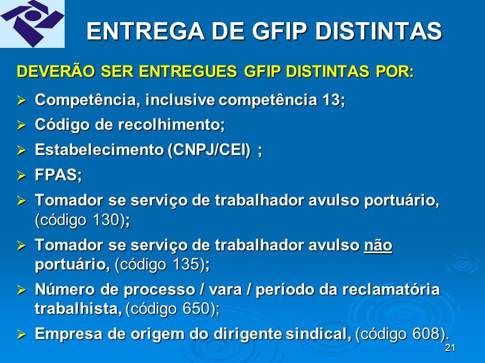 20 CHAVE DA GFIP Teremos uma única GFIP válida por chave, não podendo existir, uma mesma competência/estabelecimento, mais de uma GFIP com a mesma chave.