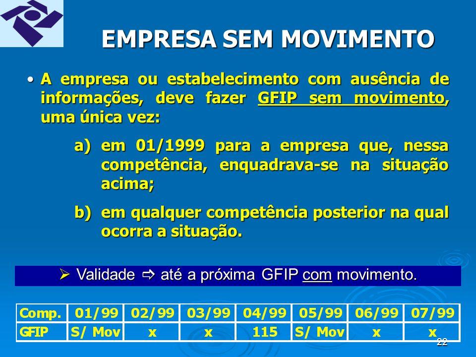 21 ENTREGA DE GFIP DISTINTAS DEVERÃO SER ENTREGUES GFIP DISTINTAS POR: Competência, inclusive competência 13; Competência, inclusive competência 13; Código de recolhimento; Código de recolhimento; Estabelecimento (CNPJ/CEI) ; Estabelecimento (CNPJ/CEI) ; FPAS; FPAS; Tomador se serviço de trabalhador avulso portuário, (código 130); Tomador se serviço de trabalhador avulso portuário, (código 130); Tomador se serviço de trabalhador avulso não portuário, (código 135); Tomador se serviço de trabalhador avulso não portuário, (código 135); Número de processo / vara / período da reclamatória trabalhista, (código 650); Número de processo / vara / período da reclamatória trabalhista, (código 650); Empresa de origem do dirigente sindical, (código 608).
