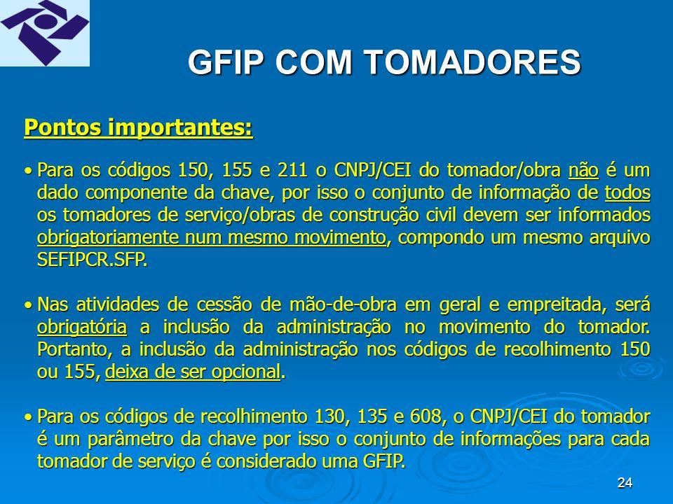 23 GFIP SEM MOVIMENTO Versão 8.0 do SEFIP:Versão 8.0 do SEFIP: opção GFIP sem movimento na tela de abertura do movimento;opção GFIP sem movimento na tela de abertura do movimento; somente código de recolhimento 115.somente código de recolhimento 115.