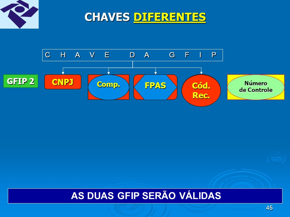 44 CHAVES DIFERENTES CNPJComp.FPAS Cód.Rec.