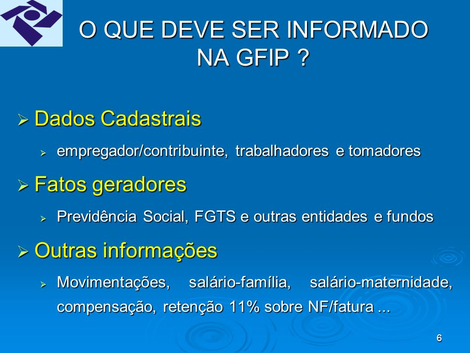 46 RETIFICAÇÃO DE GFIP ENTREGUE EM VERSÃO ANTERIOR AO SEFIP 8.0 Regra Geral: A entrega de uma GFIP para competências anteriores à implantação do Novo Modelo da GFIP, acarretará a eliminação de todas as GFIP e formulários retificadores já entregues.A entrega de uma GFIP para competências anteriores à implantação do Novo Modelo da GFIP, acarretará a eliminação de todas as GFIP e formulários retificadores já entregues.