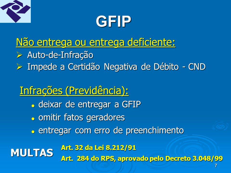 7 GFIP Infrações (Previdência): deixar de entregar a GFIP deixar de entregar a GFIP omitir fatos geradores omitir fatos geradores entregar com erro de preenchimento entregar com erro de preenchimento Não entrega ou entrega deficiente: Auto-de-Infração Auto-de-Infração Impede a Certidão Negativa de Débito - CND Impede a Certidão Negativa de Débito - CND MULTAS Art.