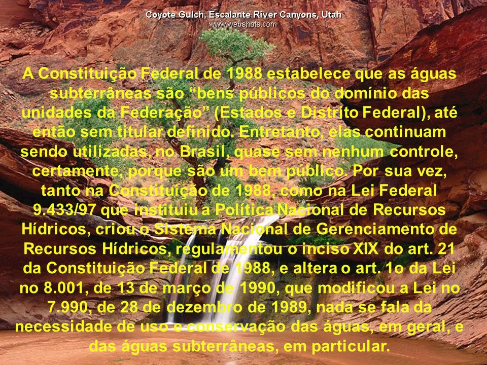 A Constituição Federal de 1988 estabelece que as águas subterrâneas são bens públicos do domínio das unidades da Federação (Estados e Distrito Federal