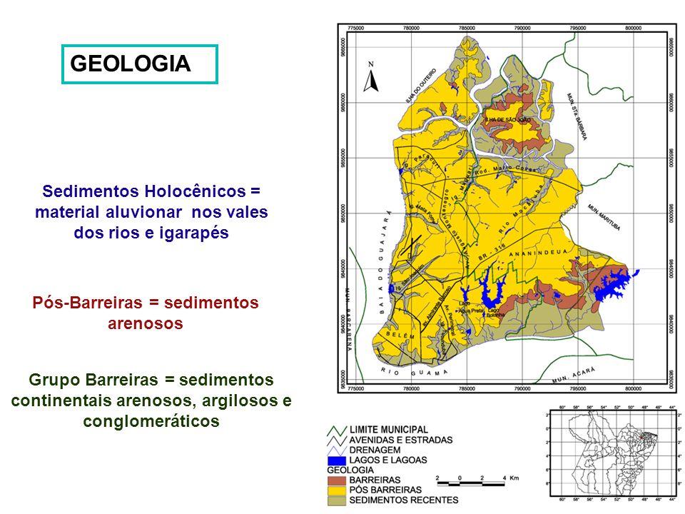 GEOLOGIA Pós-Barreiras = sedimentos arenosos Grupo Barreiras = sedimentos continentais arenosos, argilosos e conglomeráticos Sedimentos Holocênicos =