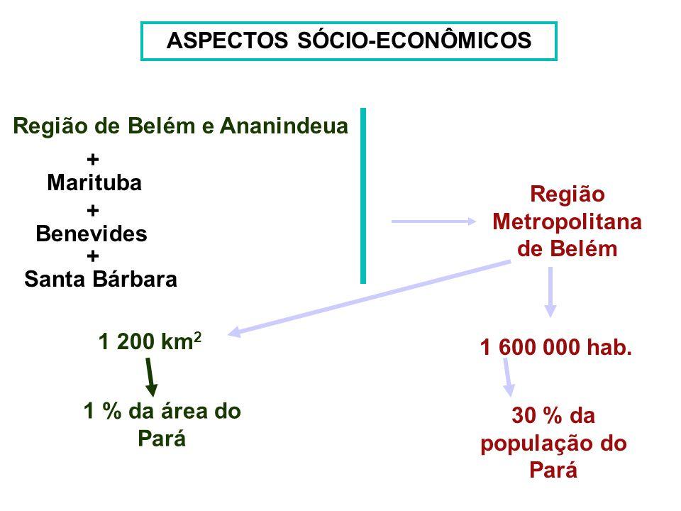 ASPECTOS SÓCIO-ECONÔMICOS Região de Belém e Ananindeua Região Metropolitana de Belém Marituba Benevides Santa Bárbara + + + 1 200 km 2 1 % da área do