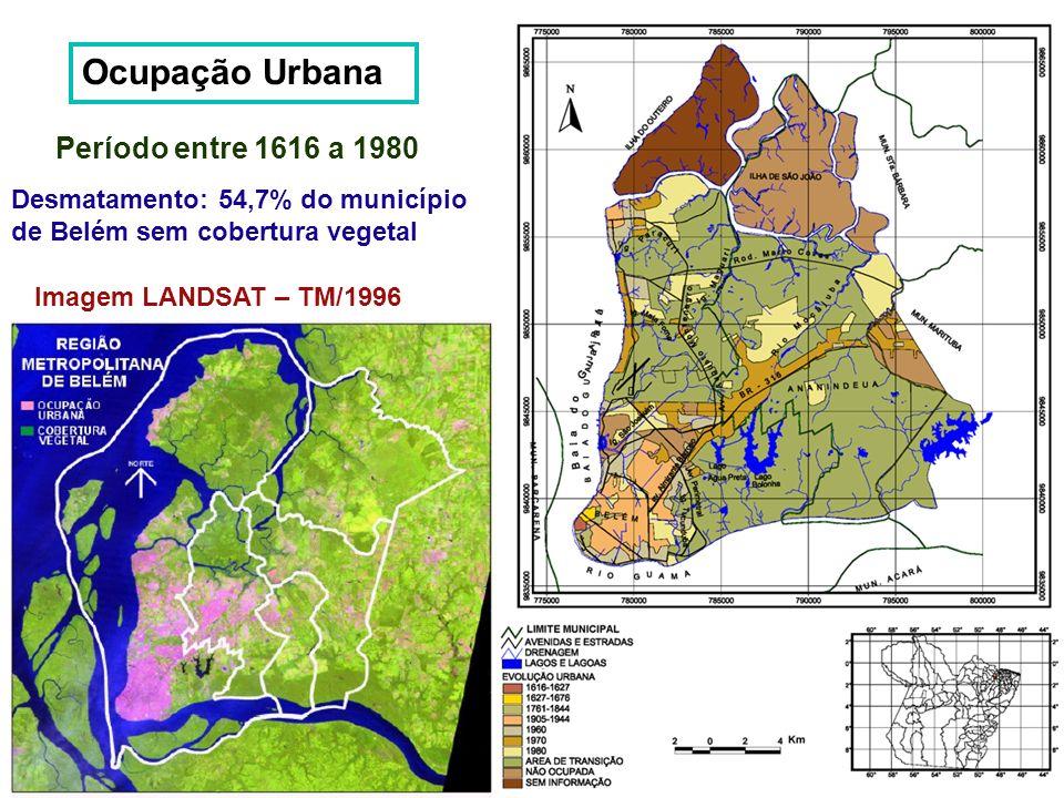 Ocupação Urbana Período entre 1616 a 1980 Desmatamento: 54,7% do município de Belém sem cobertura vegetal Imagem LANDSAT – TM/1996