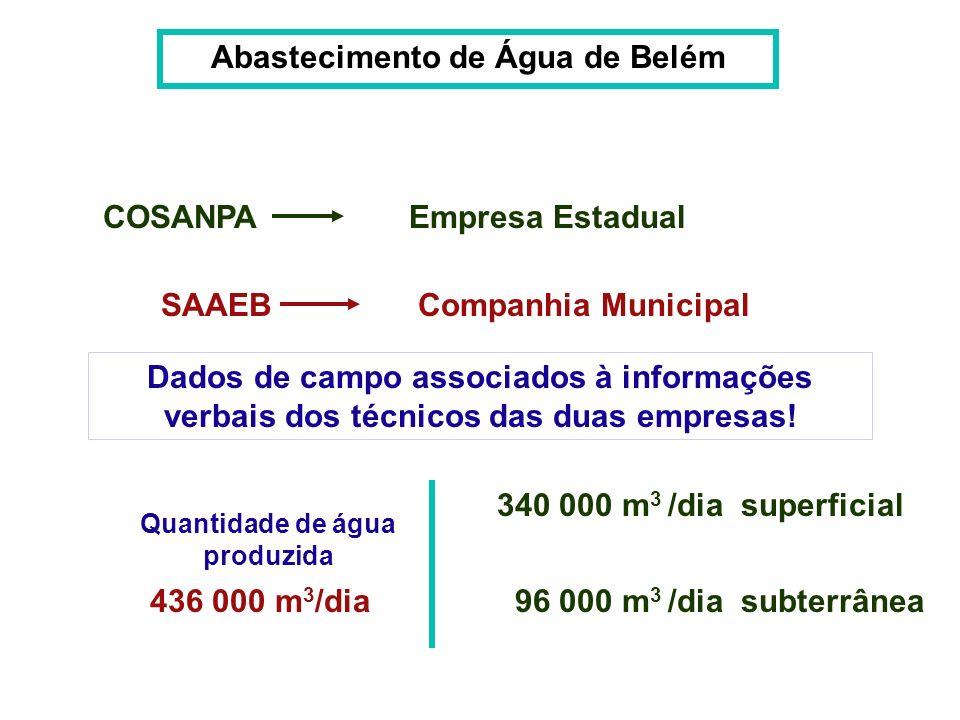 Abastecimento de Água de Belém COSANPA SAAEB Empresa Estadual Companhia Municipal Dados de campo associados à informações verbais dos técnicos das dua