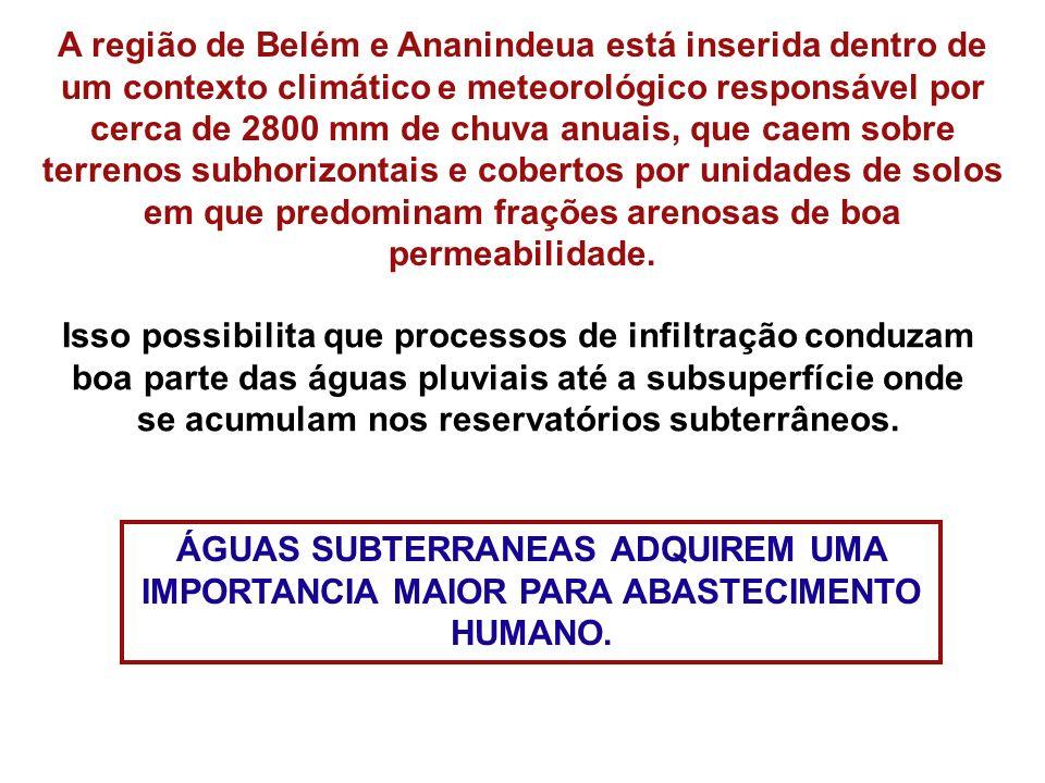 A região de Belém e Ananindeua está inserida dentro de um contexto climático e meteorológico responsável por cerca de 2800 mm de chuva anuais, que cae