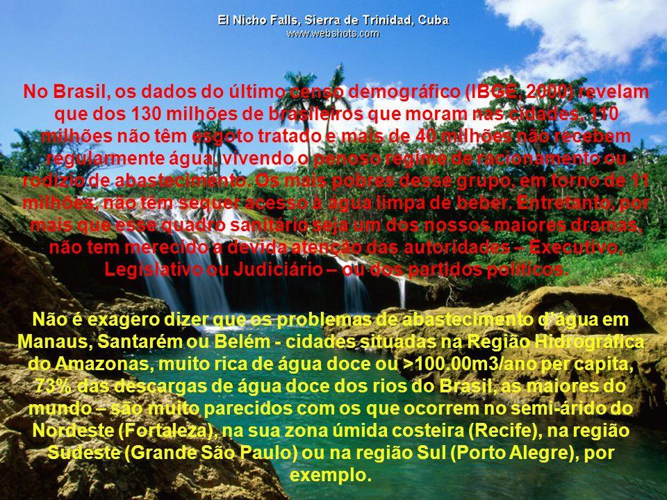 No Brasil, os dados do último censo demográfico (IBGE, 2000) revelam que dos 130 milhões de brasileiros que moram nas cidades, 110 milhões não têm esg