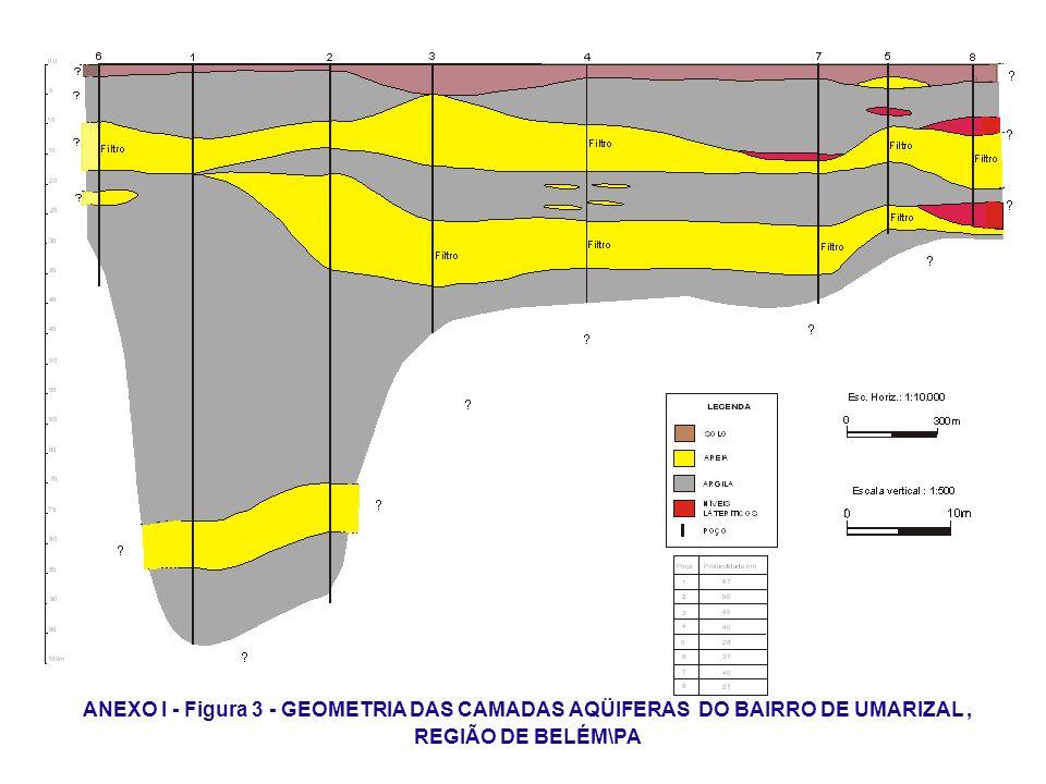 ANEXO I - Figura 3 - GEOMETRIA DAS CAMADAS AQÜIFERAS DO BAIRRO DE UMARIZAL, REGIÃO DE BELÉM\PA