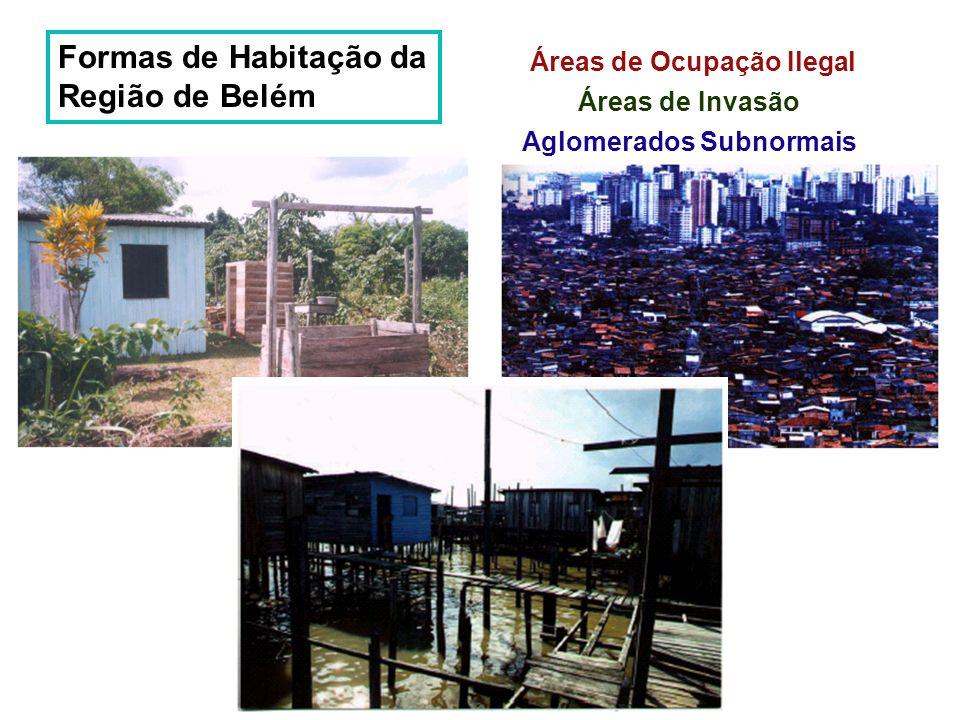 Formas de Habitação da Região de Belém Áreas de Ocupação Ilegal Áreas de Invasão Aglomerados Subnormais