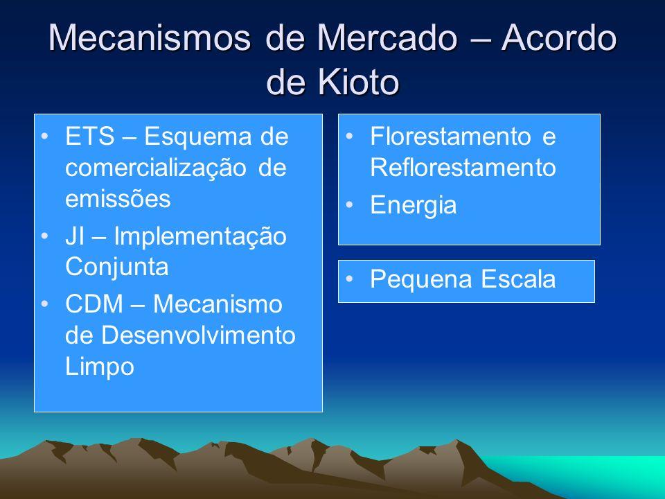 Mecanismos de Mercado – Acordo de Kioto ETS – Esquema de comercialização de emissões JI – Implementação Conjunta CDM – Mecanismo de Desenvolvimento Limpo Florestamento e Reflorestamento Energia Pequena Escala