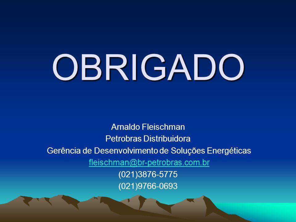 OBRIGADO Arnaldo Fleischman Petrobras Distribuidora Gerência de Desenvolvimento de Soluções Energéticas fleischman@br-petrobras.com.br (021)3876-5775 (021)9766-0693