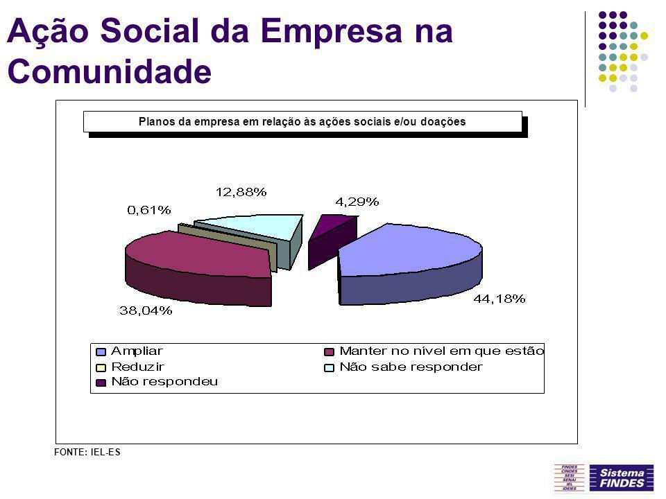 Ação Social da Empresa na Comunidade Planos da empresa em relação às ações sociais e/ou doações FONTE: IEL-ES