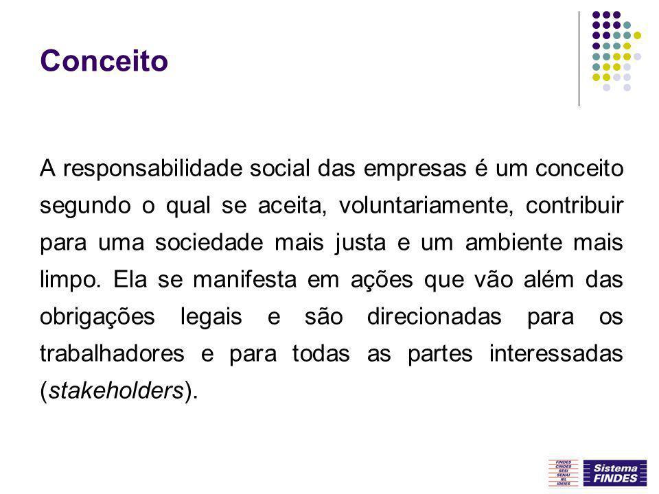Conceito A responsabilidade social das empresas é um conceito segundo o qual se aceita, voluntariamente, contribuir para uma sociedade mais justa e um