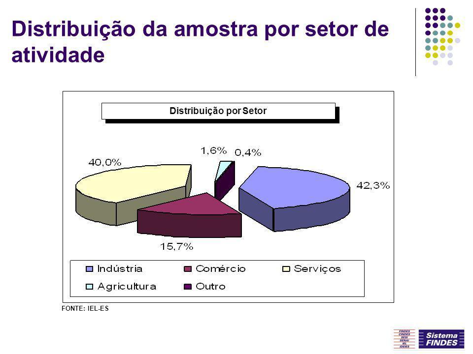 Distribuição da amostra por setor de atividade Distribuição por Setor FONTE: IEL-ES
