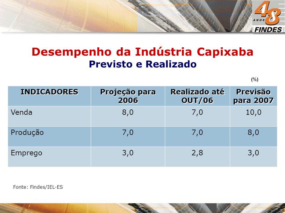 Desempenho da Indústria Capixaba Previsto e Realizado INDICADORES Projeção para 2006 Realizado até OUT/06 Previsão para 2007 Venda8,07,010,0 Produção7,0 8,0 Emprego3,02,83,0 Fonte: Findes/IEL-ES (%)