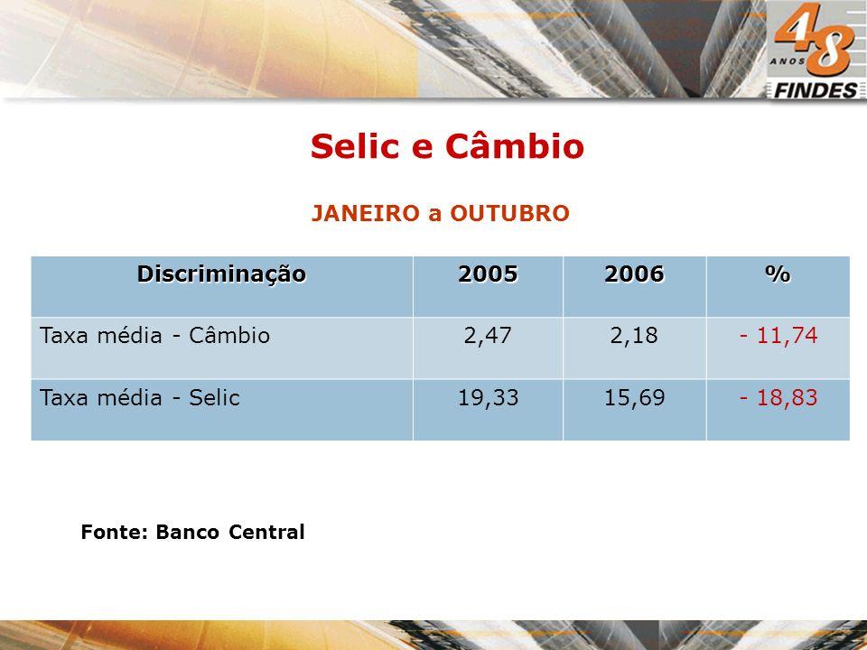 Fonte: Banco Central NOVEMBRO Selic e Câmbio DiscriminaçãoNov/2005Nov/2006% Taxa Câmbio2,212,17- 1,80 Taxa Selic19,0013,25- 30,26