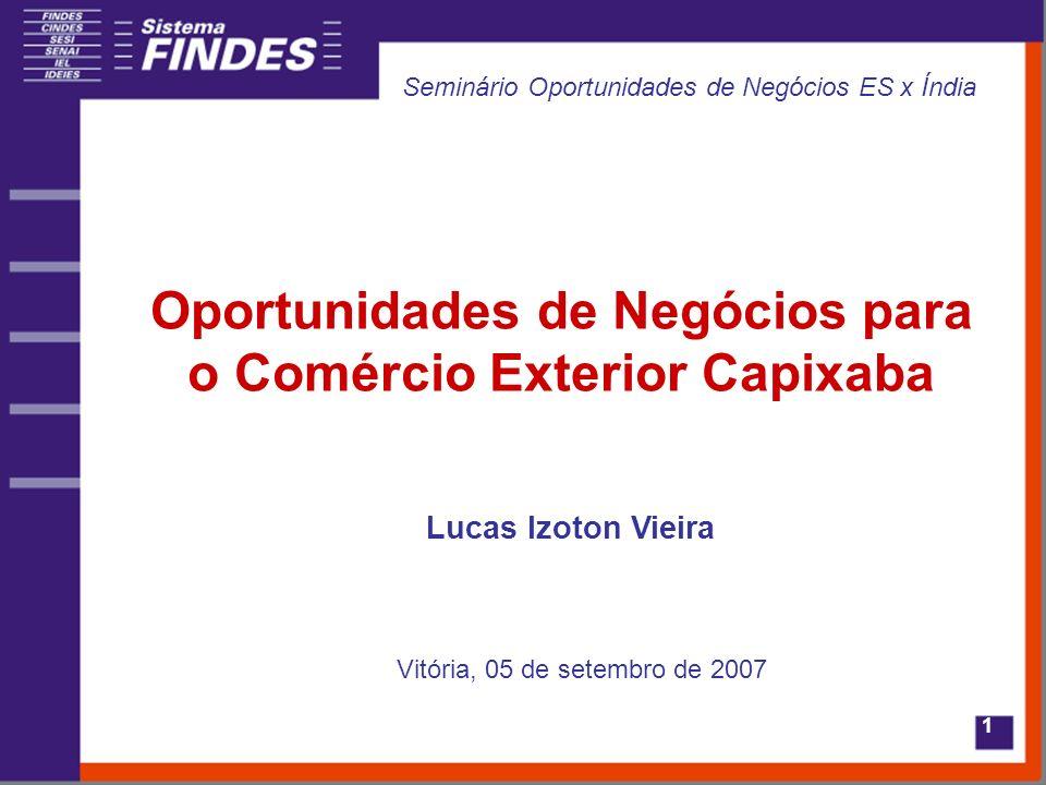 1 Oportunidades de Negócios para o Comércio Exterior Capixaba Lucas Izoton Vieira Vitória, 05 de setembro de 2007 Seminário Oportunidades de Negócios ES x Índia