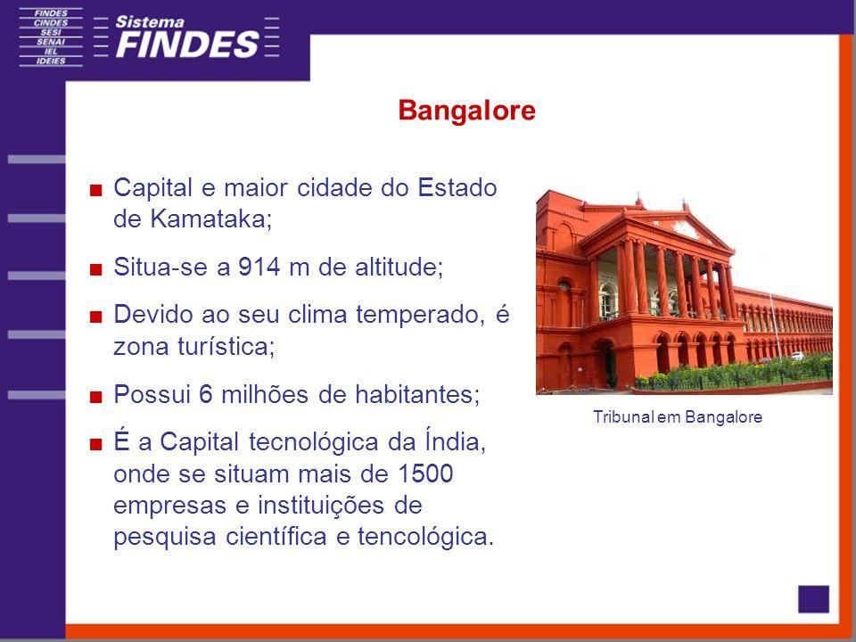 Bangalore Capital e maior cidade do Estado de Kamataka; Situa-se a 914 m de altitude; Devido ao seu clima temperado, é zona turística; Possui 6 milhões de habitantes; É a Capital tecnológica da Índia, onde se situam mais de 1500 empresas e instituições de pesquisa científica e tencológica.