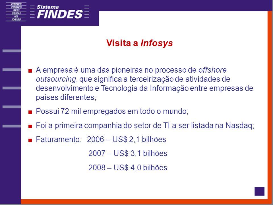 Visita a Infosys A empresa é uma das pioneiras no processo de offshore outsourcing, que significa a terceirização de atividades de desenvolvimento e T