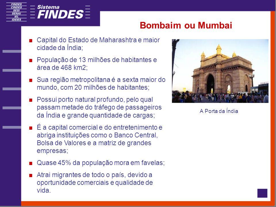 Bombaim ou Mumbai Capital do Estado de Maharashtra e maior cidade da Índia; População de 13 milhões de habitantes e área de 468 km2; Sua região metrop