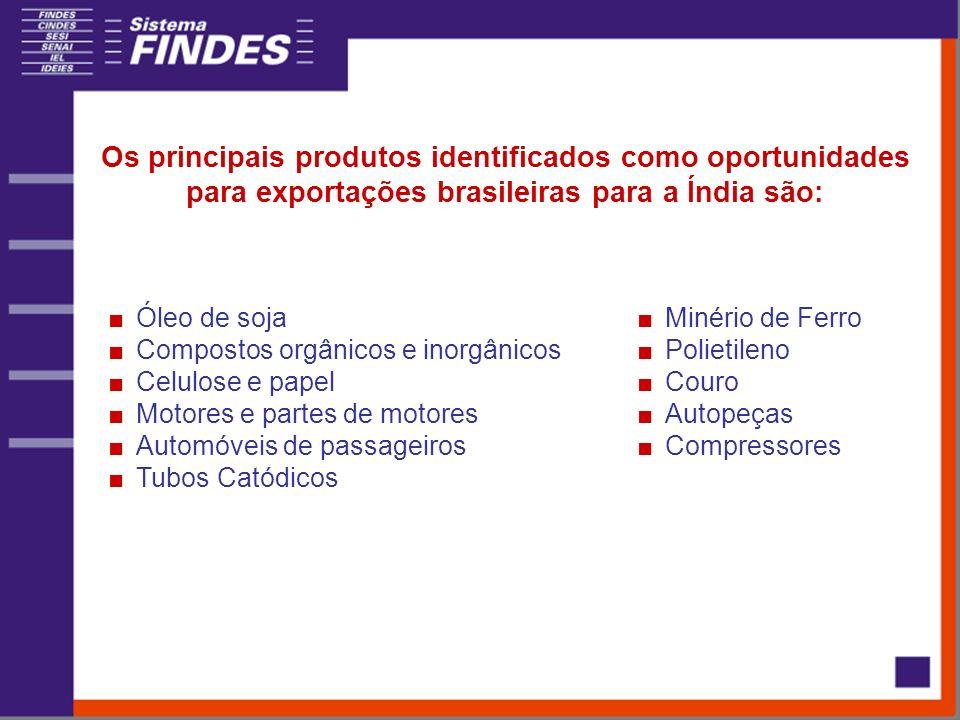 Os principais produtos identificados como oportunidades para exportações brasileiras para a Índia são: Óleo de soja Compostos orgânicos e inorgânicos Celulose e papel Motores e partes de motores Automóveis de passageiros Tubos Catódicos Minério de Ferro Polietileno Couro Autopeças Compressores