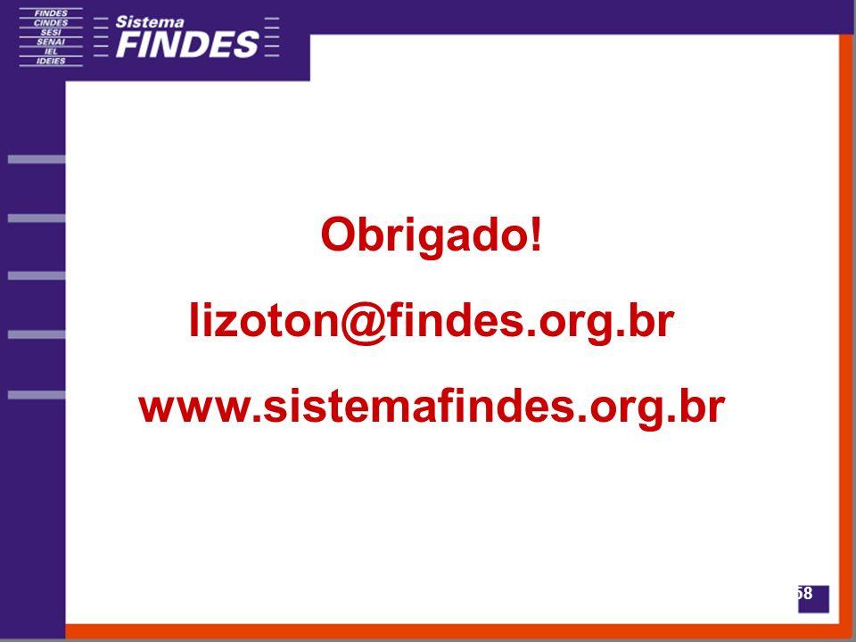 58 Obrigado! lizoton@findes.org.br www.sistemafindes.org.br