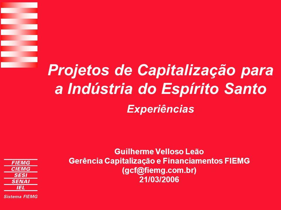 Projetos de Capitalização à Indústria do Espírito Santo GRANDE (Faturamento ao ano acima de 100 milhões ) MÉDIAS (12 a 100 milhões de faturamento ao ano) MICRO E PEQUENAS (1 a 12 milhões de faturamento ao ano) Apoio institucional Mercado de capitais FDIC Bolsa de Recebíveis BNDES/Postos Avançados Fundos Equity Bolsa de Recebíveis Cooperativa Postos Avançados Fundo garantia Estruturas financeiras de apoio à Indústria