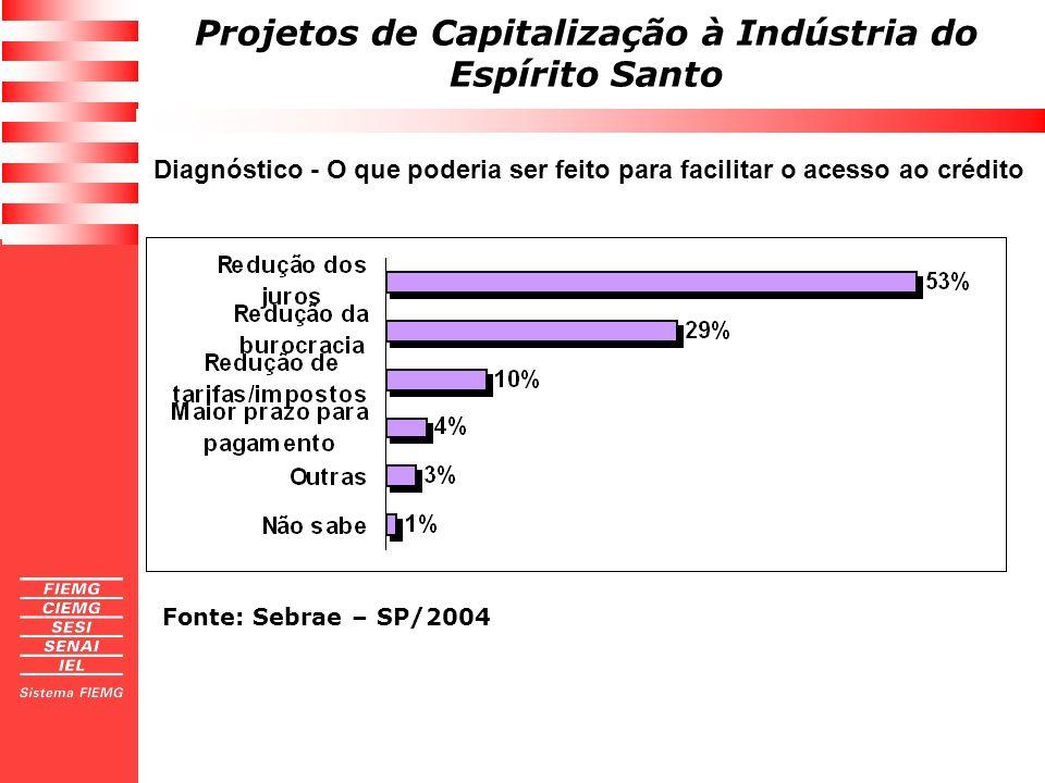 Projetos de Capitalização à Indústria do Espírito Santo Diagnóstico - O que poderia ser feito para facilitar o acesso ao crédito Fonte: Sebrae – SP/20