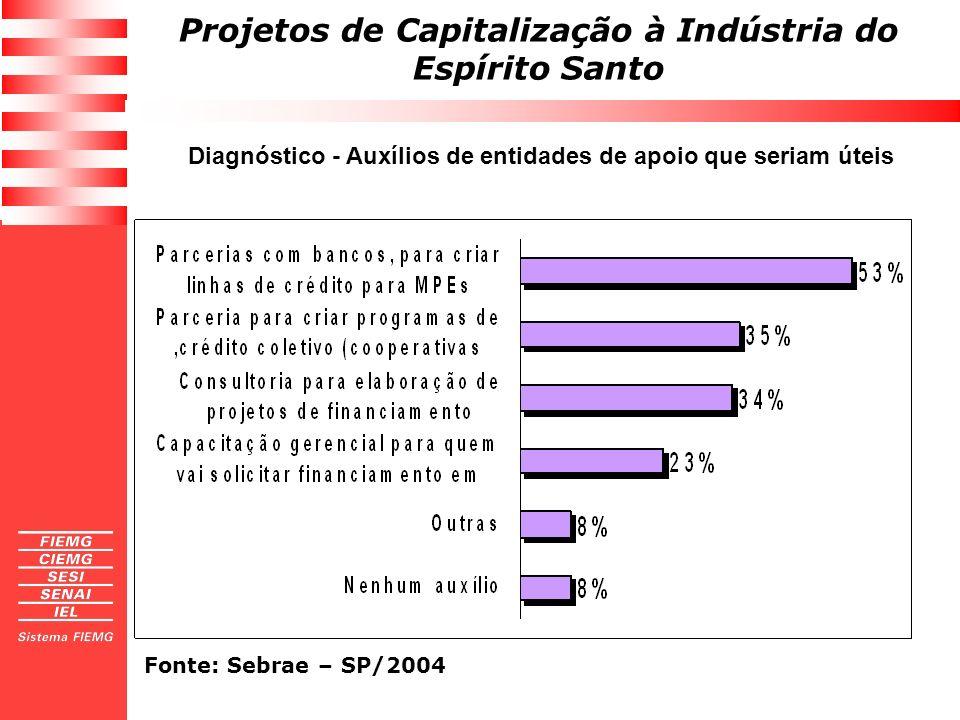 Projetos de Capitalização à Indústria do Espírito Santo Diagnóstico - Auxílios de entidades de apoio que seriam úteis Fonte: Sebrae – SP/2004