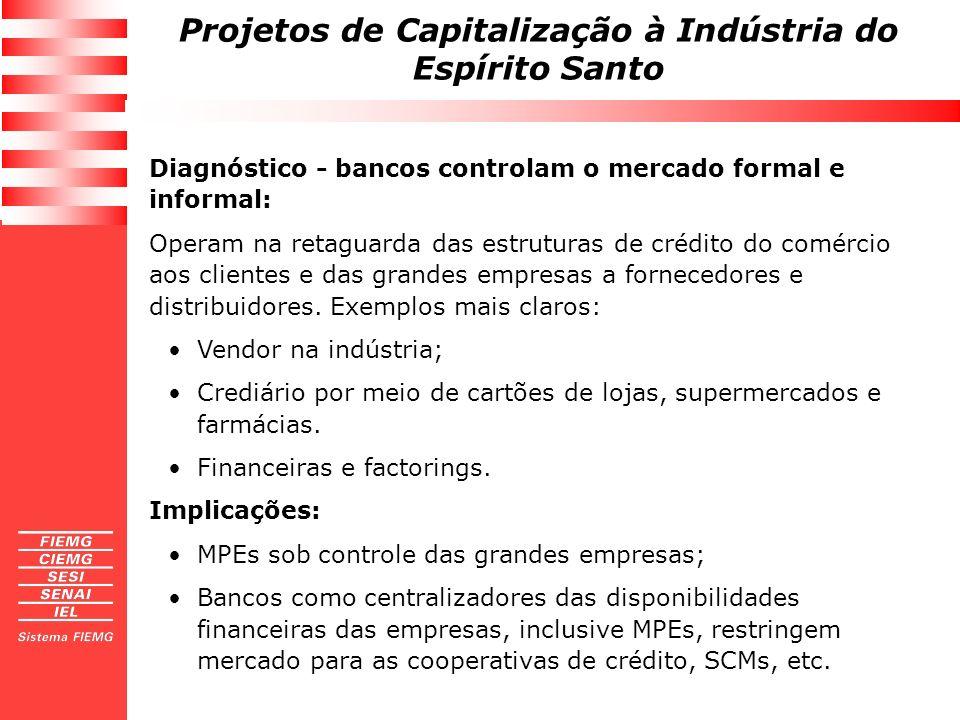 Projetos de Capitalização à Indústria do Espírito Santo Diagnóstico - bancos controlam o mercado formal e informal: Operam na retaguarda das estrutura