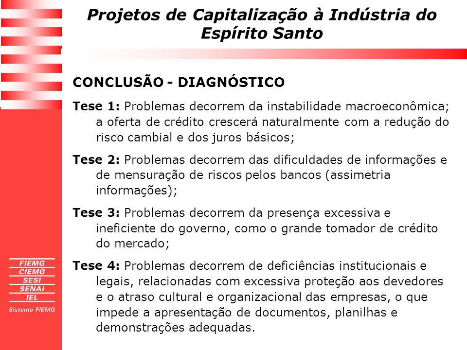 Projetos de Capitalização à Indústria do Espírito Santo CONCLUSÃO - DIAGNÓSTICO Tese 1: Problemas decorrem da instabilidade macroeconômica; a oferta d