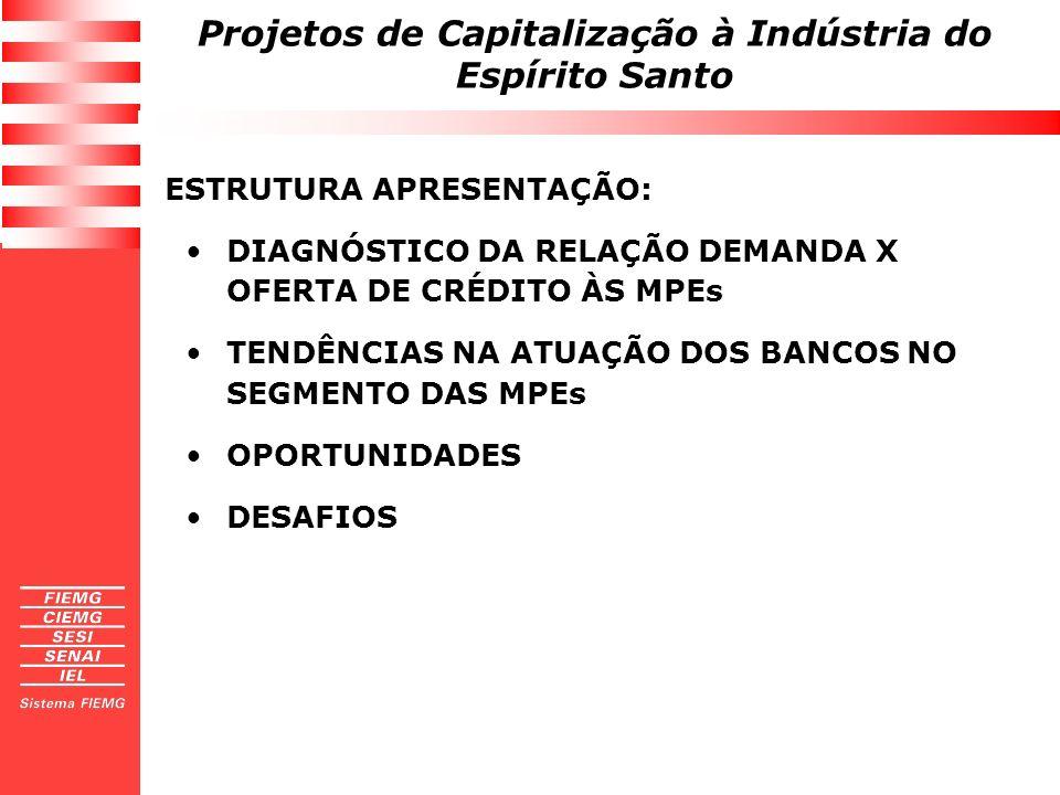 Projetos de Capitalização à Indústria do Espírito Santo ESTRUTURA APRESENTAÇÃO: DIAGNÓSTICO DA RELAÇÃO DEMANDA X OFERTA DE CRÉDITO ÀS MPEs TENDÊNCIAS