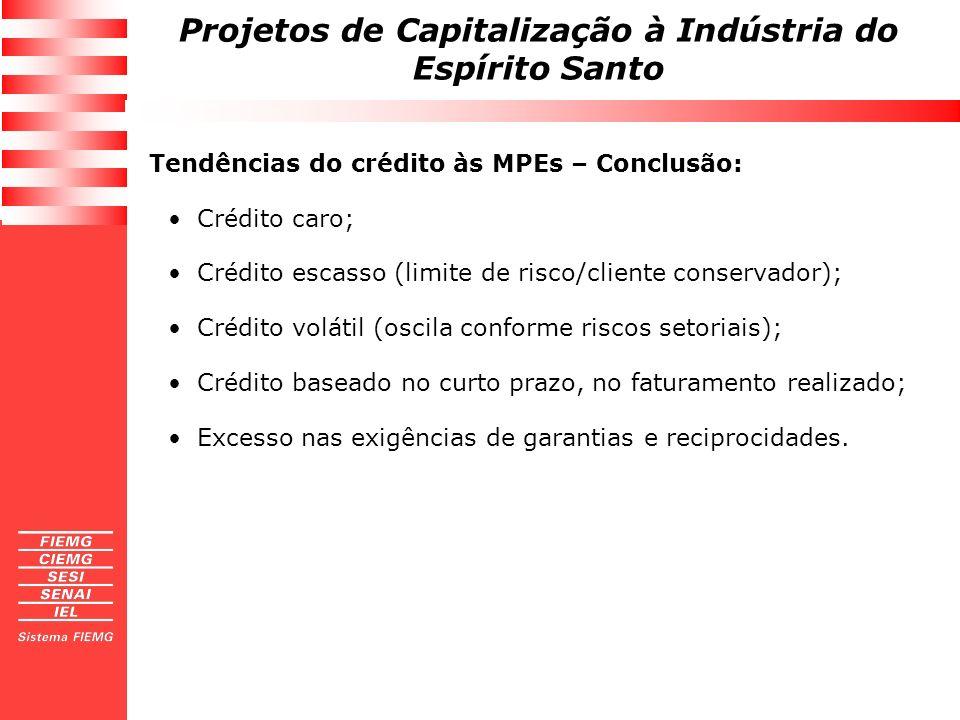 Projetos de Capitalização à Indústria do Espírito Santo Tendências do crédito às MPEs – Conclusão: Crédito caro; Crédito escasso (limite de risco/clie