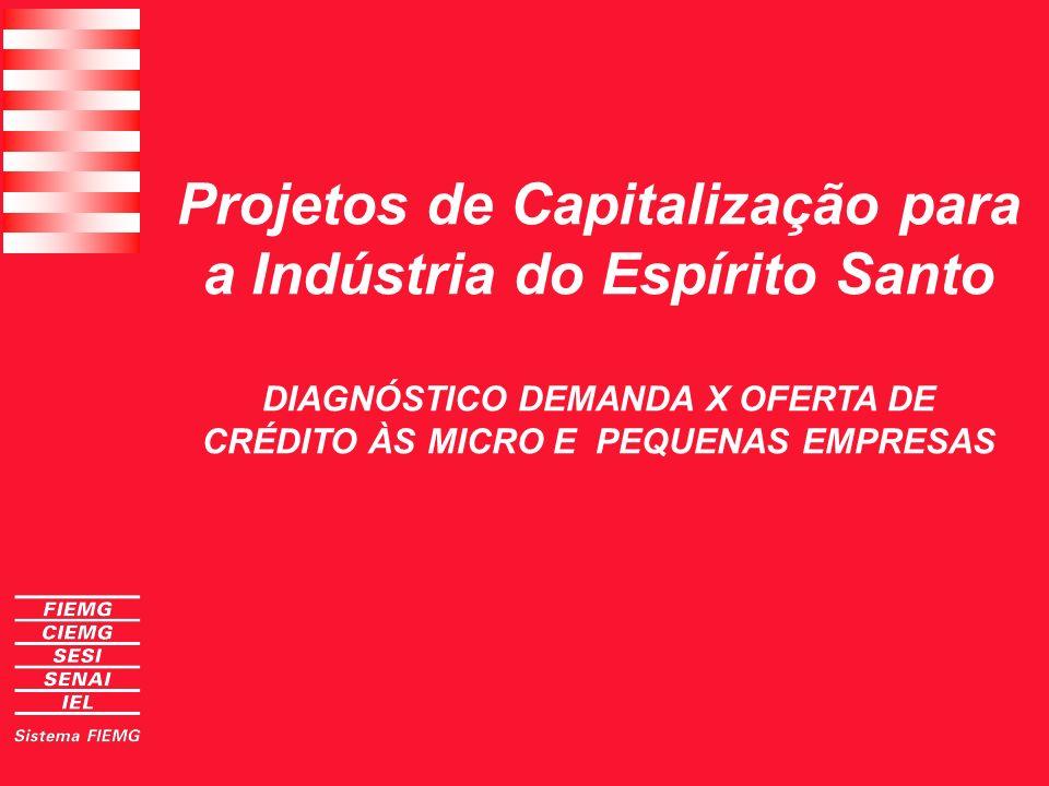 Projetos de Capitalização à Indústria do Espírito Santo Diagnóstico - bancos controlam o mercado formal e informal: Operam na retaguarda das estruturas de crédito do comércio aos clientes e das grandes empresas a fornecedores e distribuidores.