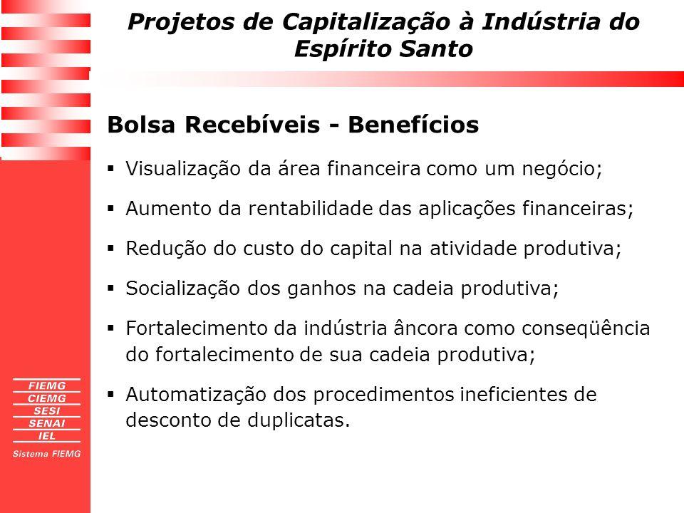 Projetos de Capitalização à Indústria do Espírito Santo Bolsa Recebíveis - Benefícios Visualização da área financeira como um negócio; Aumento da rent