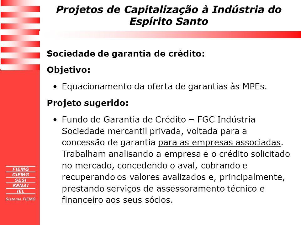 Projetos de Capitalização à Indústria do Espírito Santo Sociedade de garantia de crédito: Objetivo: Equacionamento da oferta de garantias às MPEs. Pro