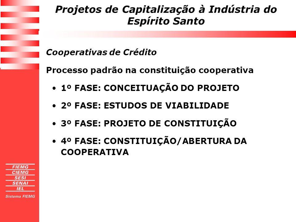 Projetos de Capitalização à Indústria do Espírito Santo Cooperativas de Crédito Processo padrão na constituição cooperativa 1º FASE: CONCEITUAÇÃO DO P
