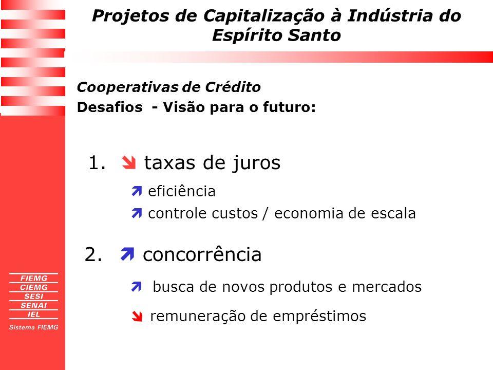 Projetos de Capitalização à Indústria do Espírito Santo 1. taxas de juros eficiência controle custos / economia de escala 2. concorrência busca de nov