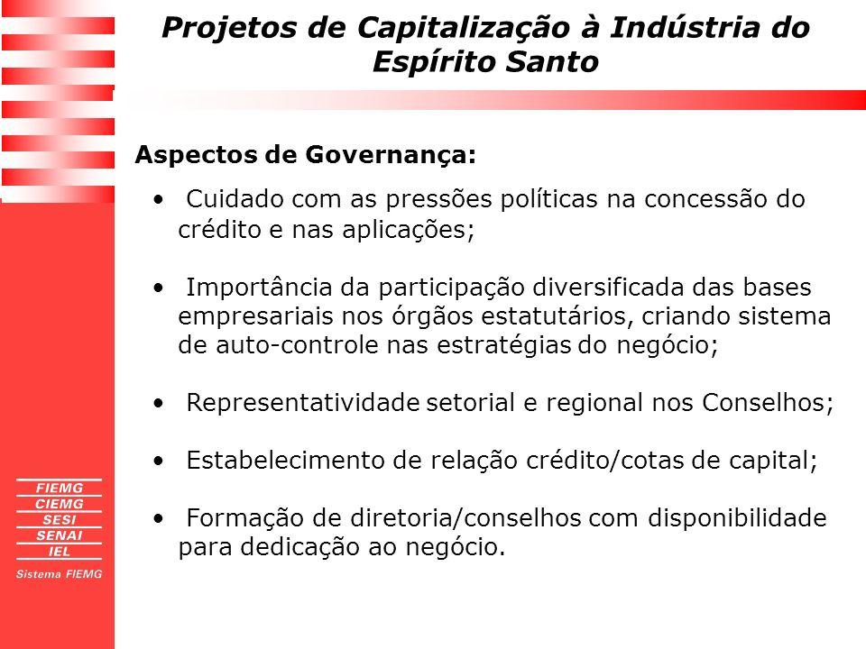 Projetos de Capitalização à Indústria do Espírito Santo Aspectos de Governança: Cuidado com as pressões políticas na concessão do crédito e nas aplica