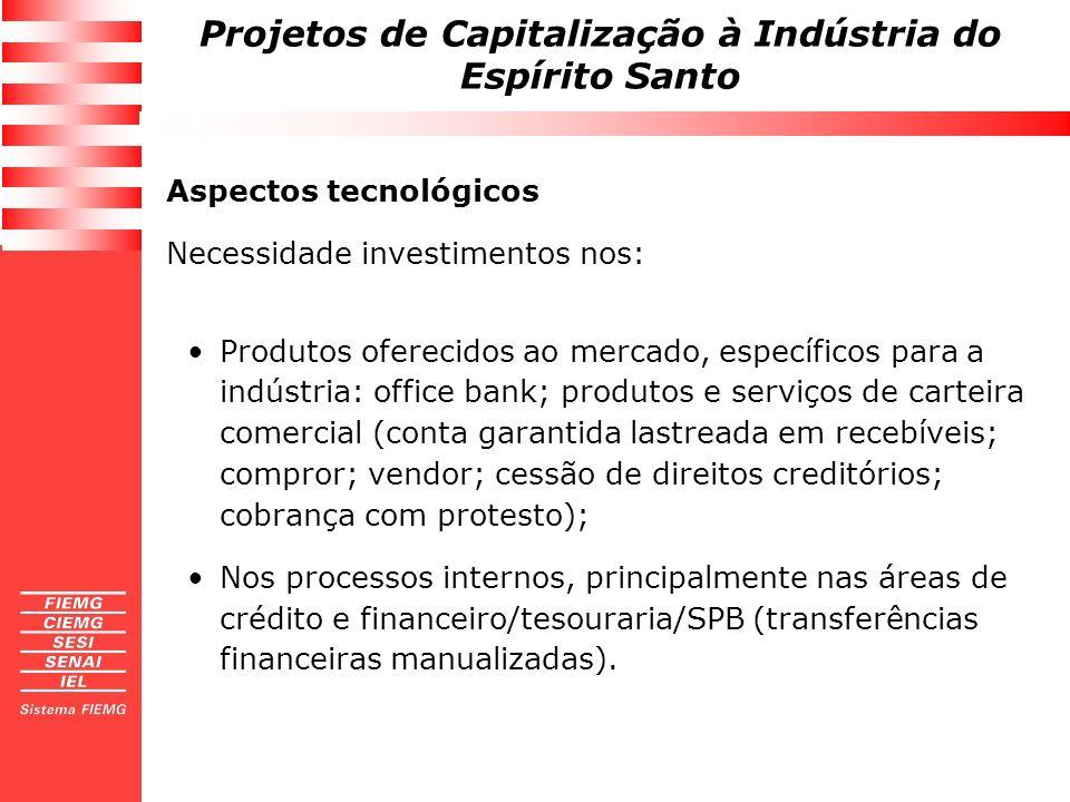 Projetos de Capitalização à Indústria do Espírito Santo Aspectos tecnológicos Necessidade investimentos nos: Produtos oferecidos ao mercado, específic