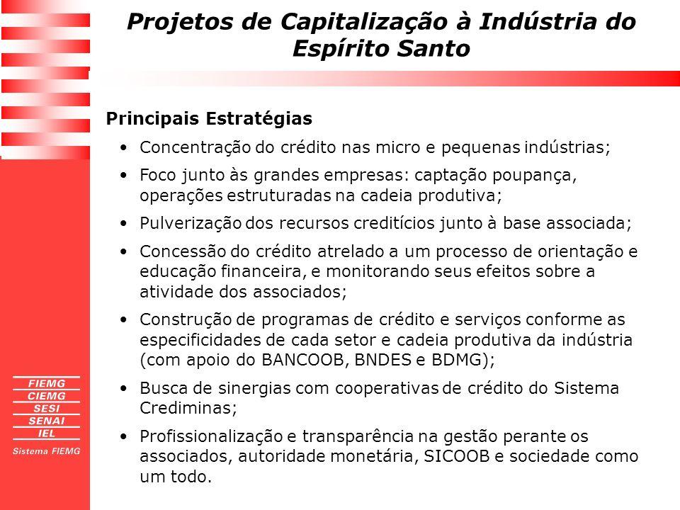 Projetos de Capitalização à Indústria do Espírito Santo Principais Estratégias Concentração do crédito nas micro e pequenas indústrias; Foco junto às